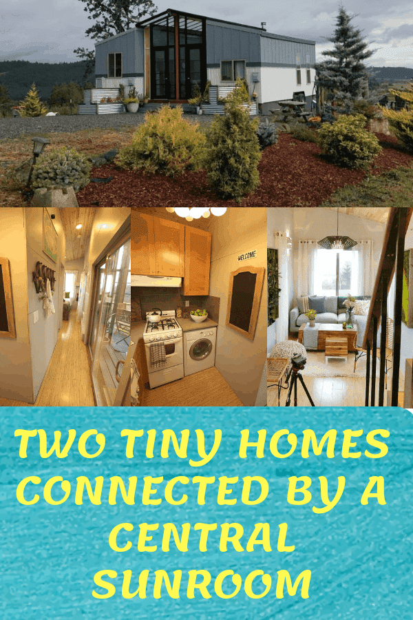 Two Tiny Homes Connected By a Central Sunroom #tinyhome #tinyhomesunroom