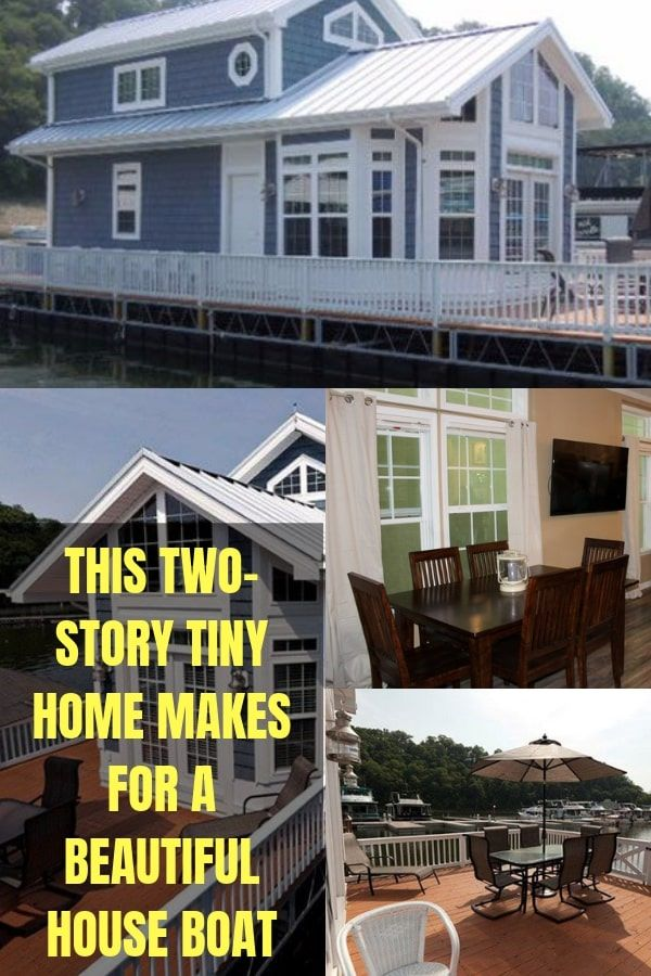 Tour Inside This Adorable Two-Story Tiny Home Houseboat #tinyhouse #tinyhouseboat