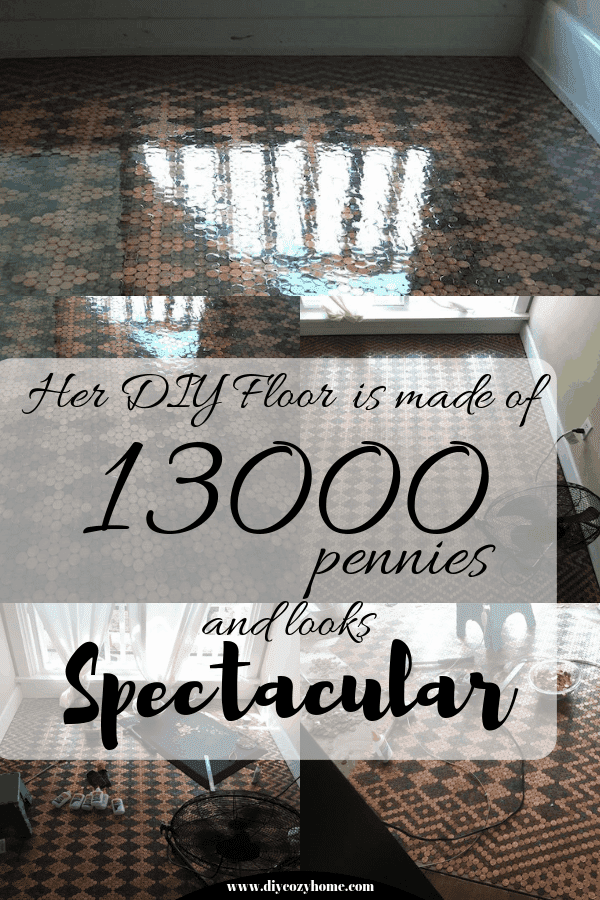 Her DIY Floor Is Made With 13,000 Pennies And Looks Spectacular #diyfloors #pennyfloor