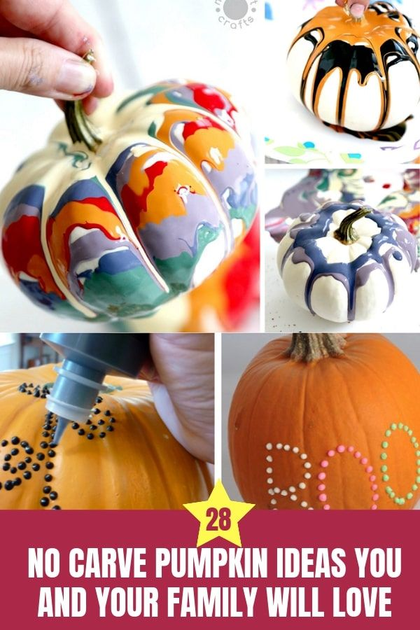 28 No Carve Pumpkin Ideas You and Your Family Will Love #nocarvepumpkin #halloweencrafts