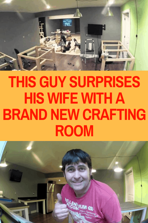 This Guy Surprises His Wife With A Brand New Crafting Room #basementremodel #craftroom