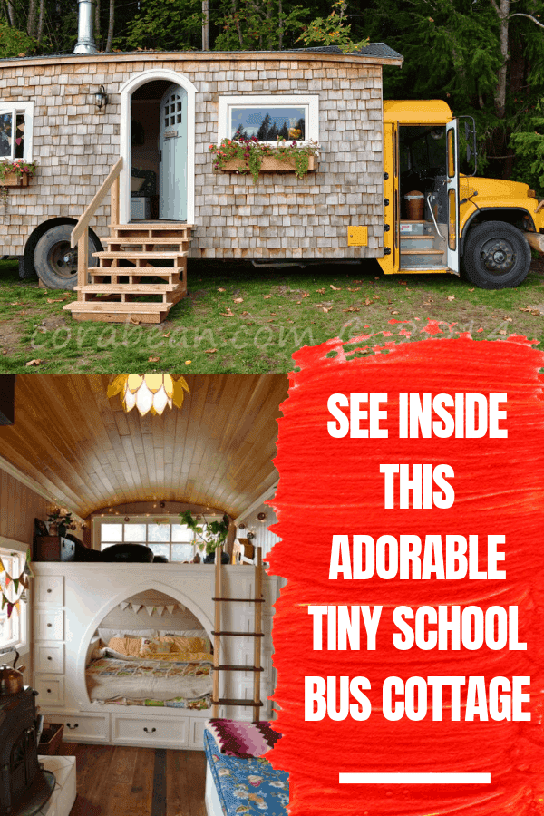 See Inside This Adorable Tiny School Bus Cottage #schoolbuscottage #schoolbushome