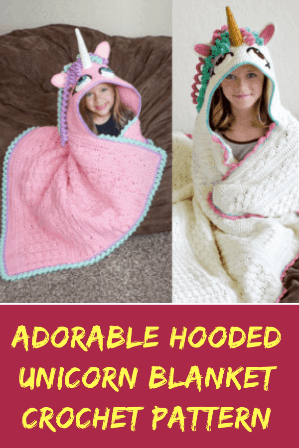 Adorable Hooded Unicorn Blanket Crochet Pattern #unicorn #unicornhoodedblanket #unicorncrochetpattern