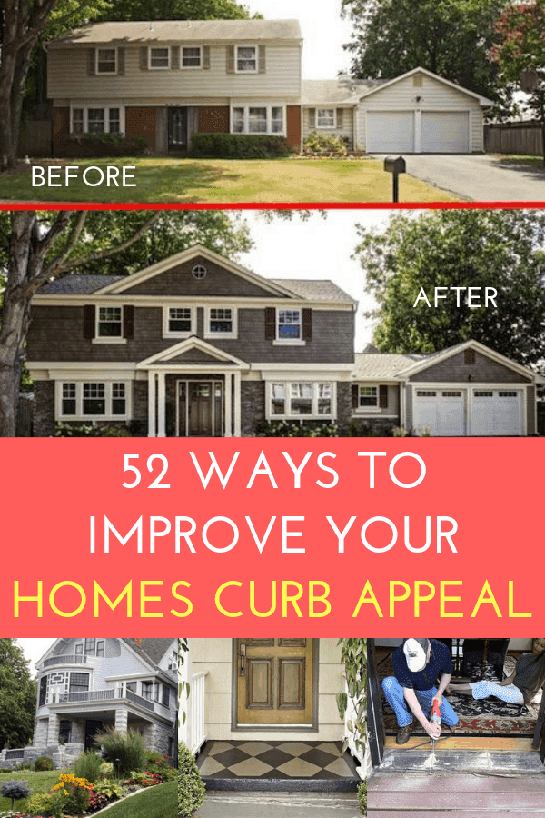 52 Ways to Improve Your Homes Curb Appeal - So many wonderful ideas all in one place! #diy #curbappeal #readytosell #homeremodel