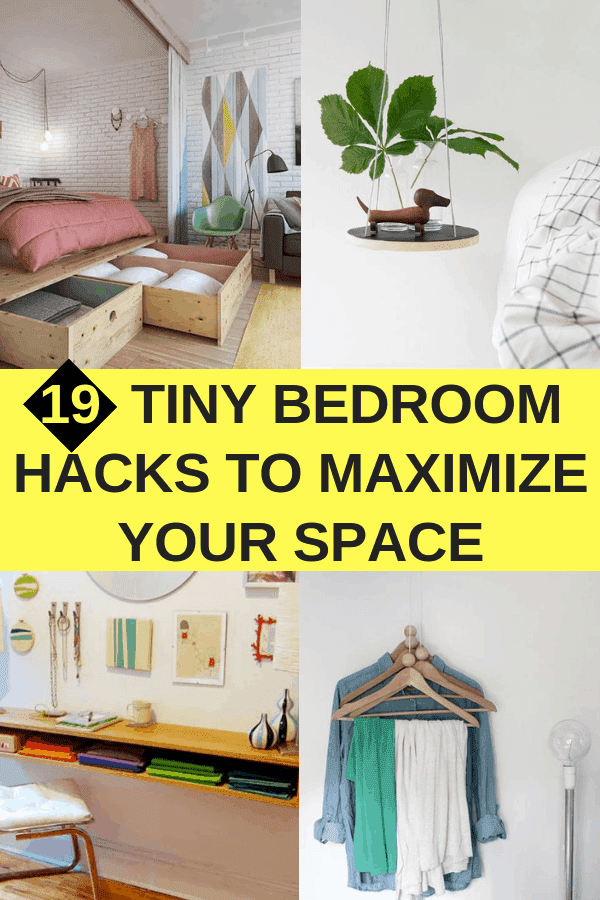 19 Tiny Bedroom Hacks To Maximize Your Space #smallbedroom #diy #tinyroom #bedroomstorage #storagehacks